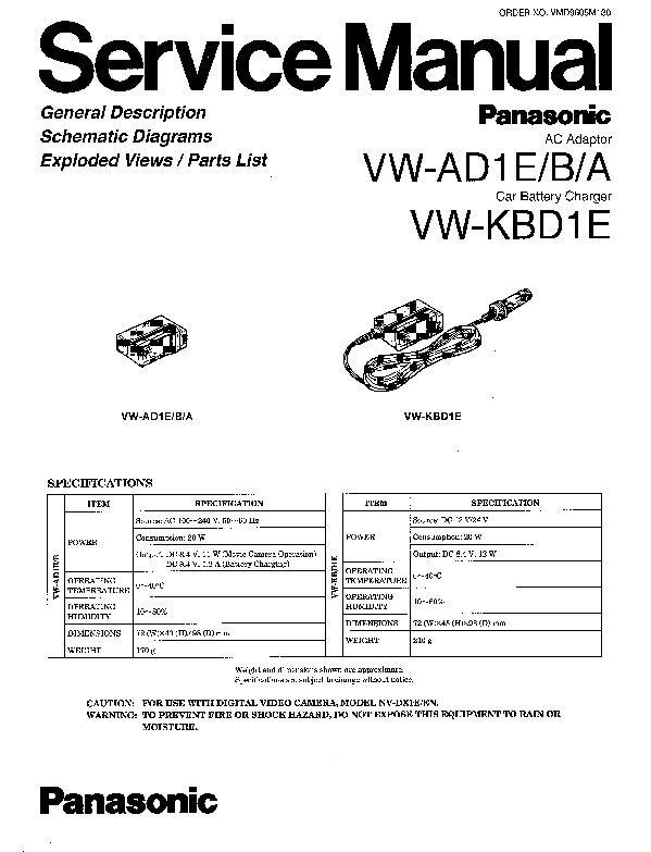 Panasonic VW-AD1E, VW-AD1BA, VW-KBD1E Service Manual