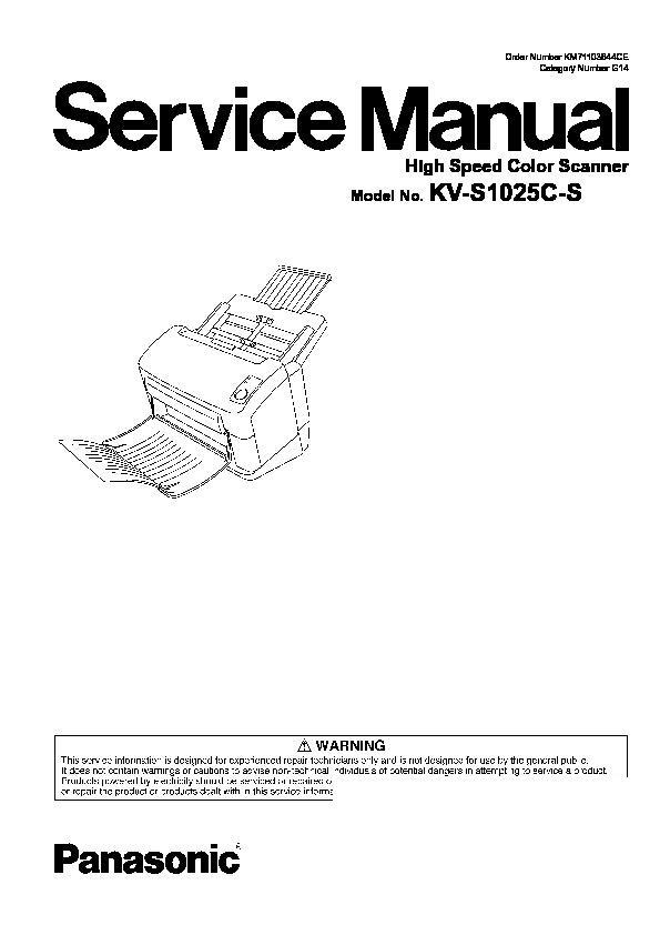 Panasonic KV-S1025C, KV-S1020C (SERV.MAN2) Service Manual