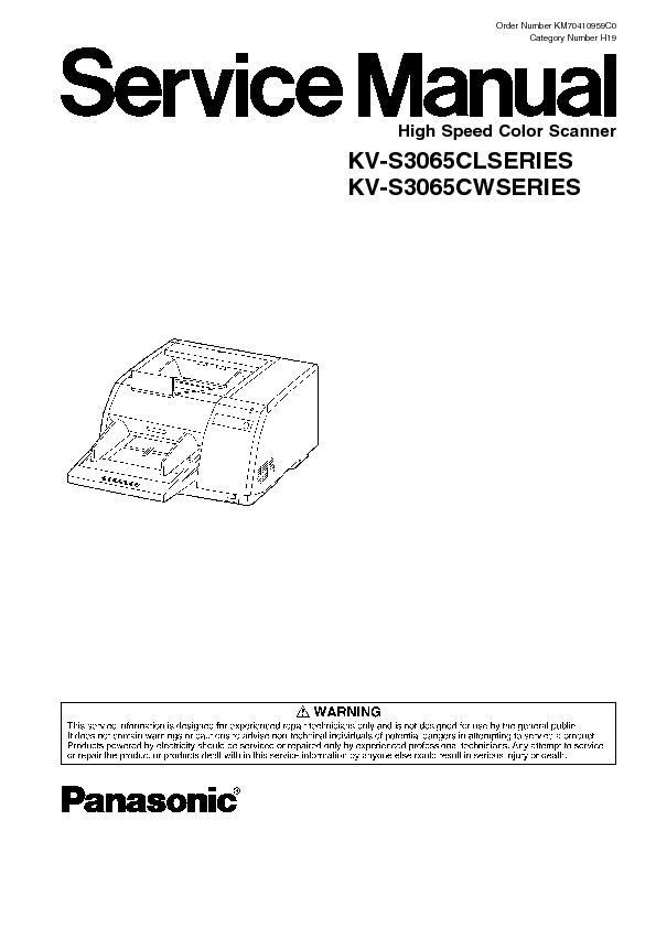 Panasonic KV-S3065CL, KV-S3065CW (SERV.MAN3) Service