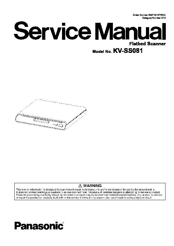 Panasonic KV-SS081 Service Manual — View online or