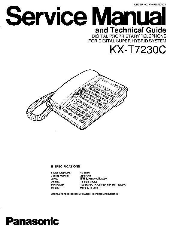 Panasonic KX-T7230C Service Manual — View online or