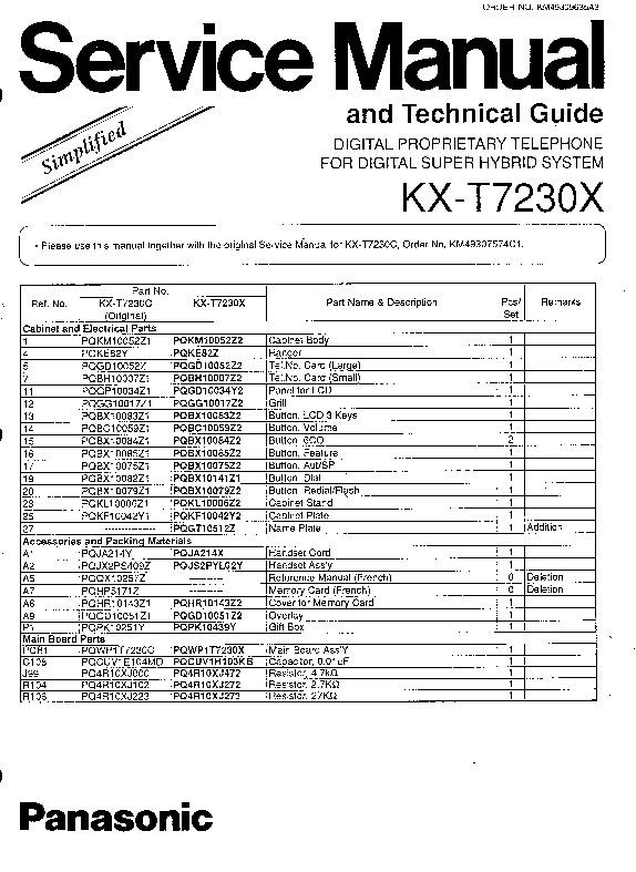 Panasonic KX-T7230X Service Manual Simplified — View