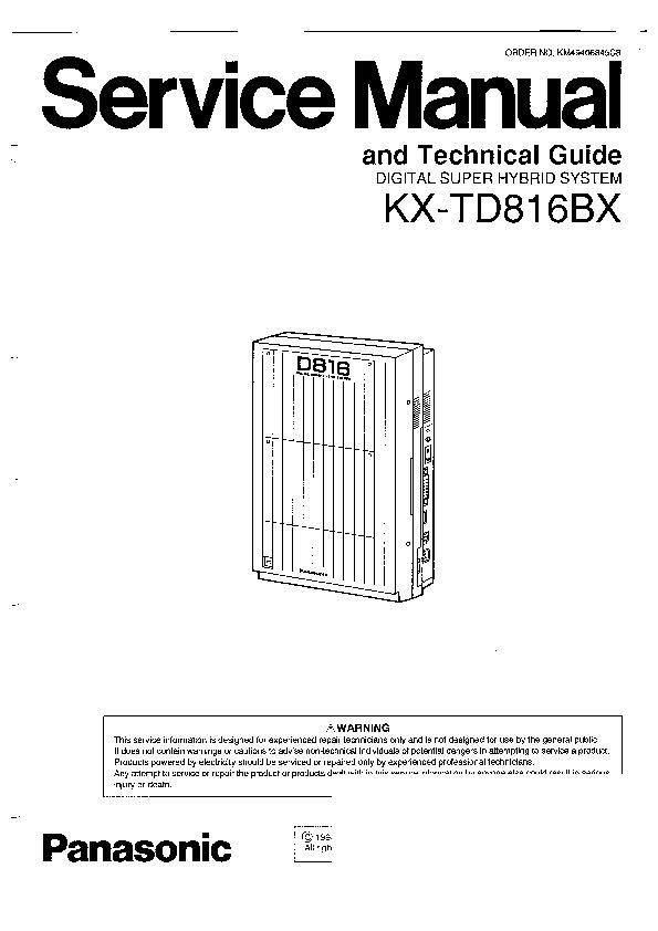 Panasonic KX-TD816BX (SERV.MAN7) Service Manual — View