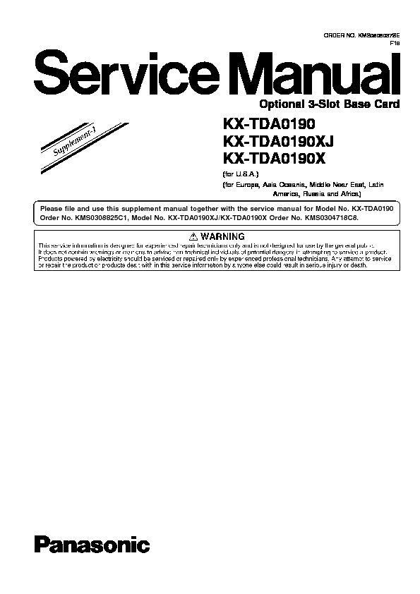 Panasonic KX-TDA0190XJ, KX-TDA0190X (SERV.MAN3) Service