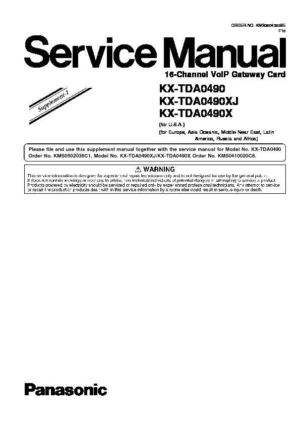 Panasonic KX-TDA0490, KX-TDA0490XJ, KX-TDA0490X Service
