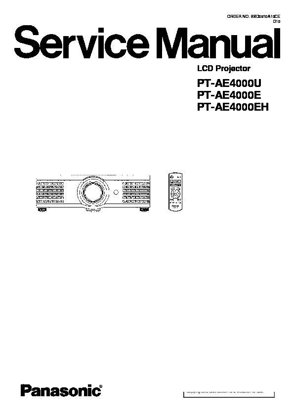 Panasonic PT-AE4000E, PT-AE4000U, PT-AE4000EH service