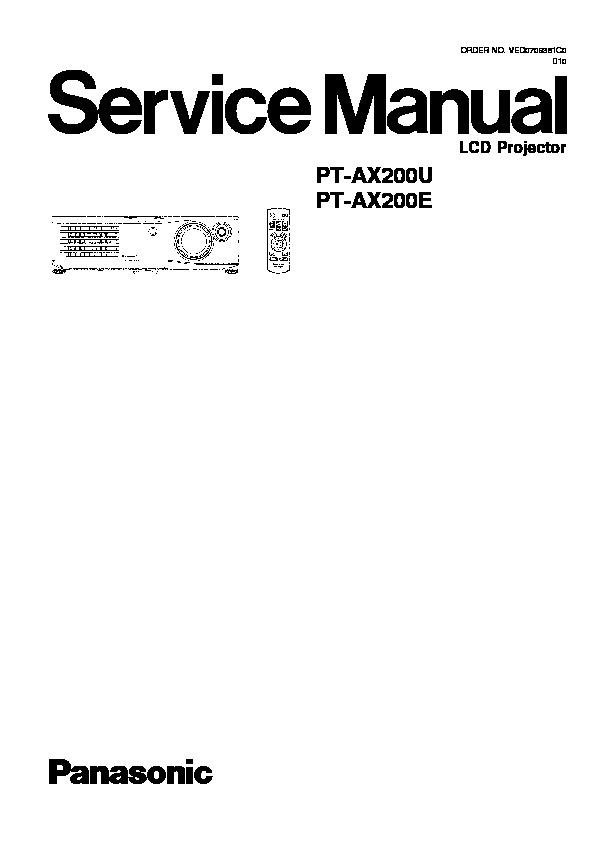 Panasonic PT-AX200U, PT-AX200E Service Manual — View