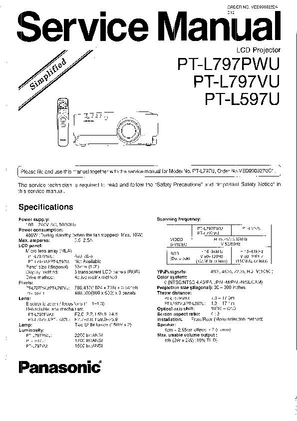 Panasonic PT-L5 Service Manual Simplified — View online or