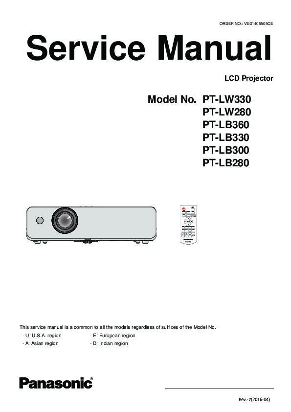 Panasonic PT-LW330, PT-LW280, PT-LB360, PT-LB330, PT-LB300