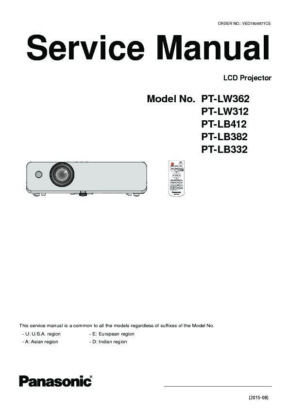 Panasonic PT-LW362, PT-LW312, PT-LB412, PT-LB382, PT-LB332