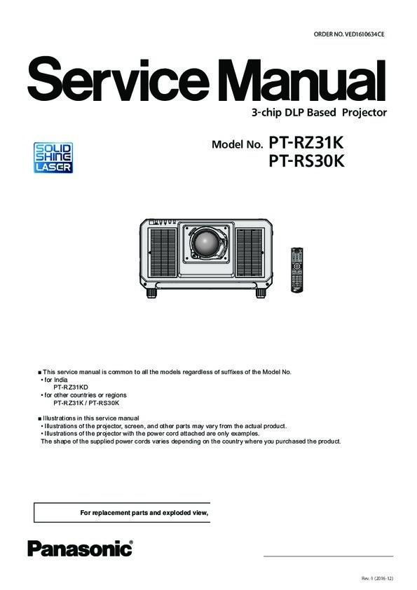 Panasonic PT-RZ31K, PT-RS30K Service Manual — View online