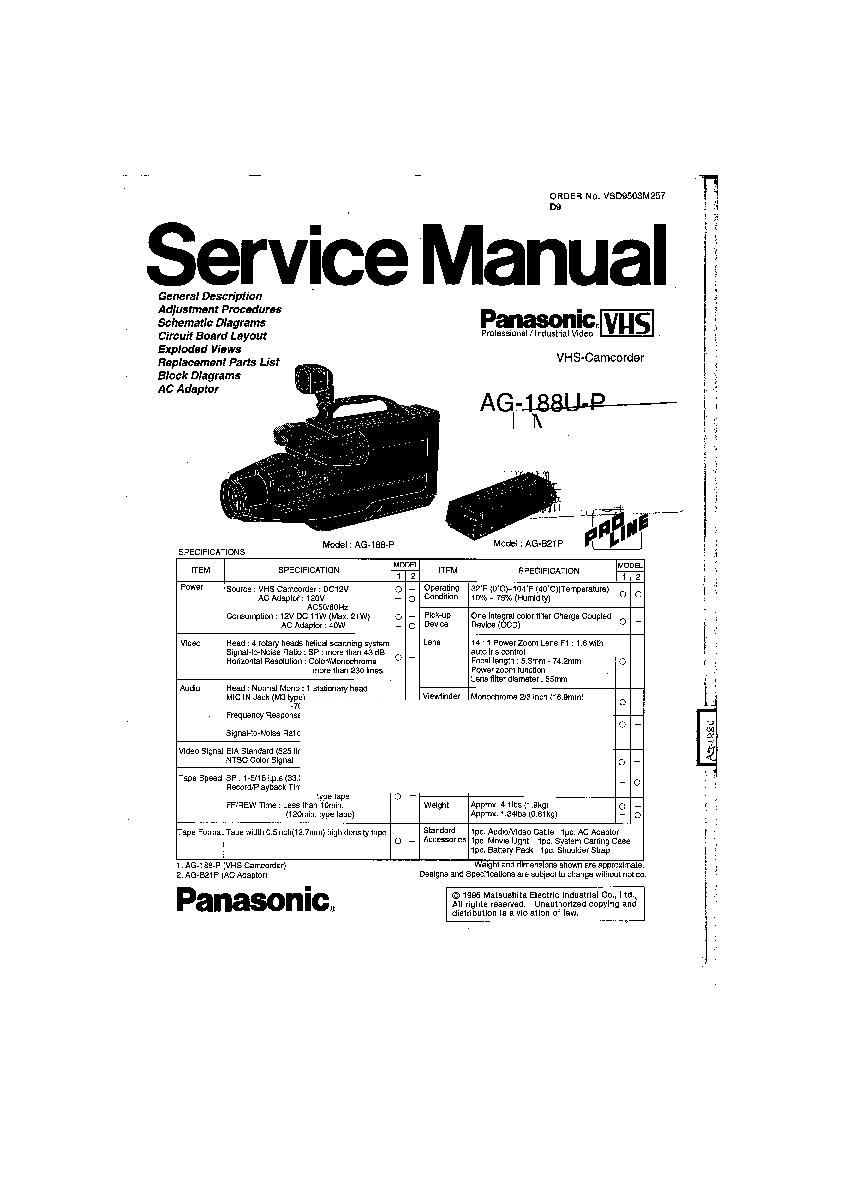 Panasonic AG-188U-P Service Manual — View online or