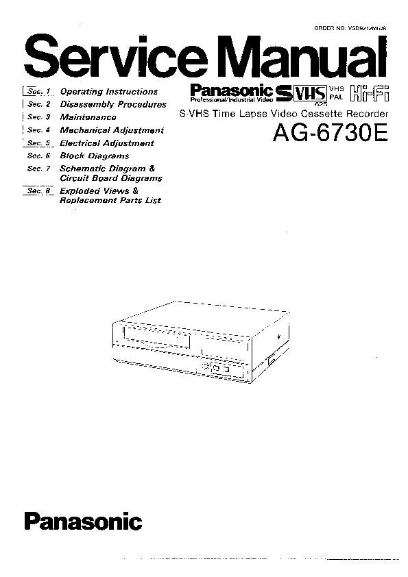 Panasonic AG-6730E Service Manual — View online or