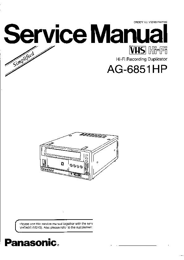 Panasonic AG-6851HP Service Manual Simplified — View
