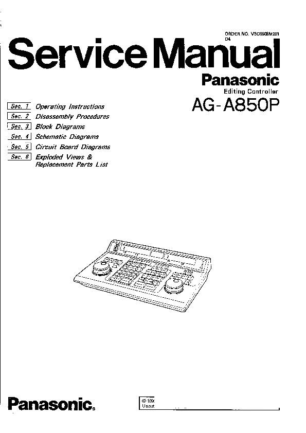 Panasonic AG-850P Service Manual — View online or Download
