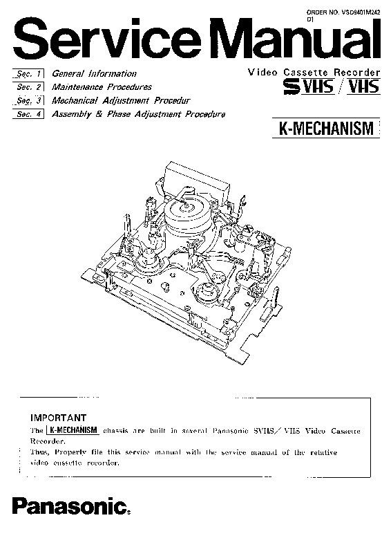Panasonic K-MECHANISM (SERV.MAN2) Service Manual — View