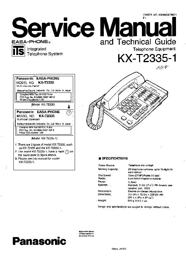 Panasonic KX-T2335-1 Service Manual — View online or