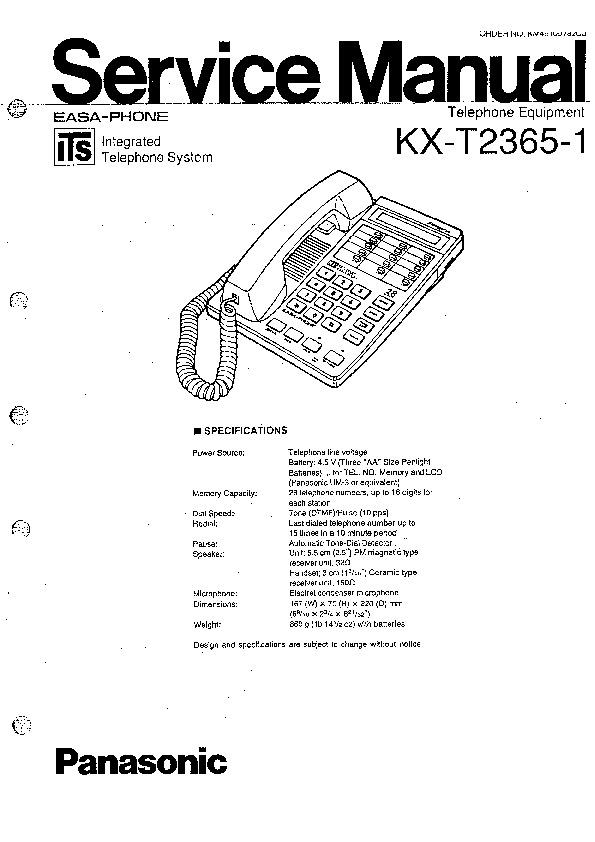 Panasonic KX-T2365-1 Service Manual — View online or