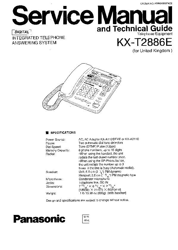 Panasonic KX-T2886E Service Manual — View online or