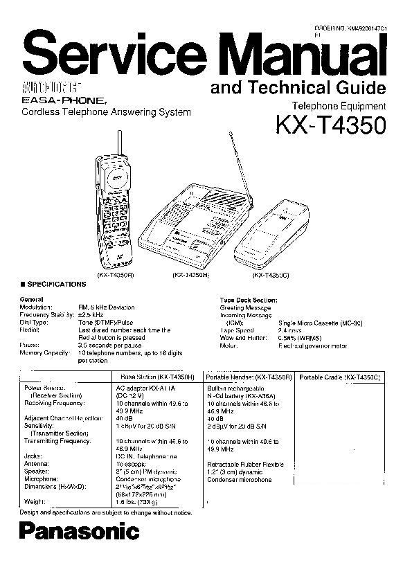 Panasonic KX-T4350 Service Manual — View online or