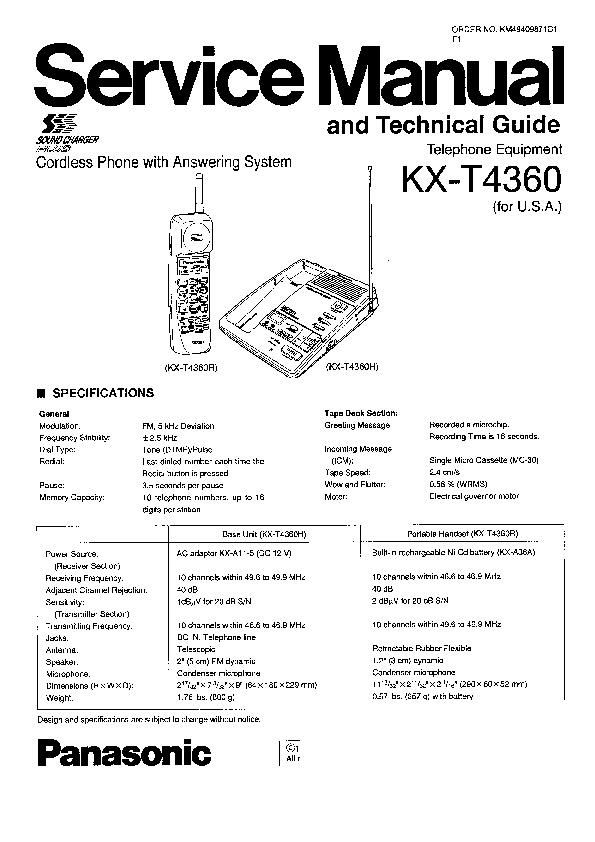 Panasonic KX-T4360 Service Manual — View online or