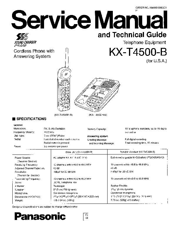 Panasonic KX-T4500-B Service Manual — View online or