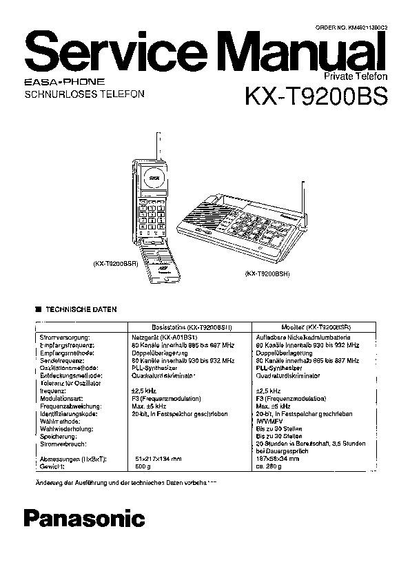 Panasonic KX-T9200BS Service Manual — View online or