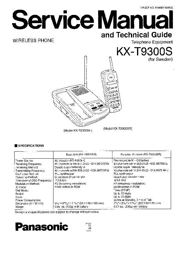 Panasonic KX-T9300, KX-T9310, KX-T9320, KX-T9321, KX-T9350