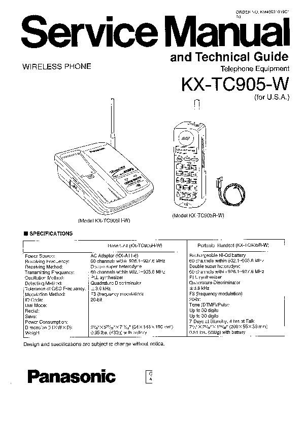 Panasonic KX-TC905-W Service Manual — View online or