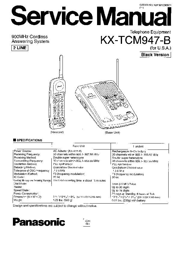 Panasonic KX-TCM947-B Service Manual — View online or