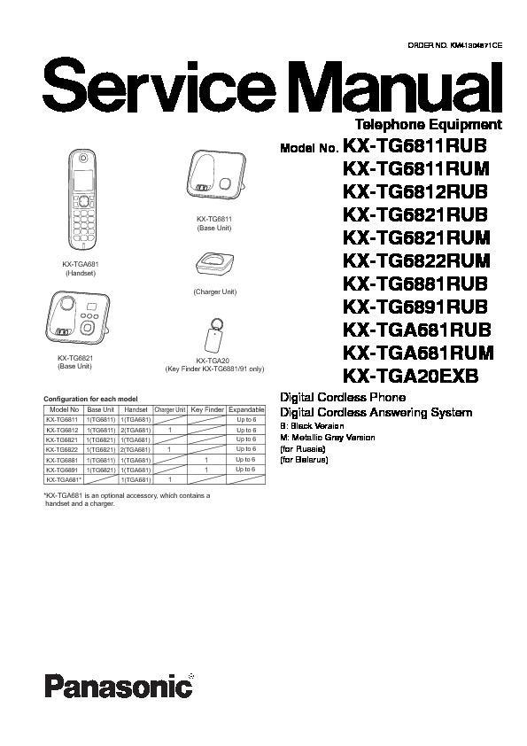 Panasonic KX-TG6811CAB, KX-TG6811CAM, KX-TG6812CAB, KX