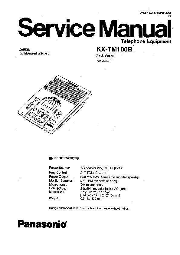 Panasonic KX-TM100B, KX-TM100CB, KX-TM100ALB Service