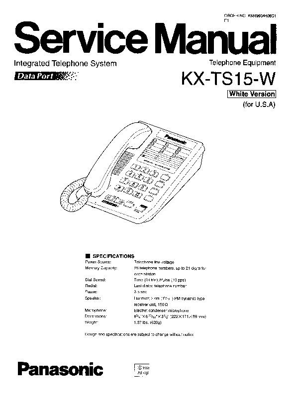 Panasonic KX-TS15-W Service Manual — View online or