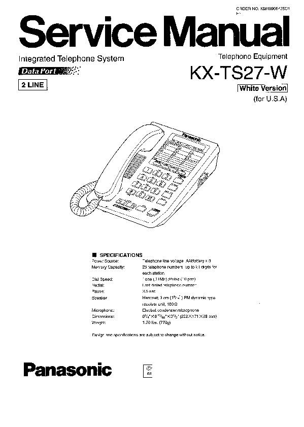 Panasonic KX-TS27-W Service Manual — View online or
