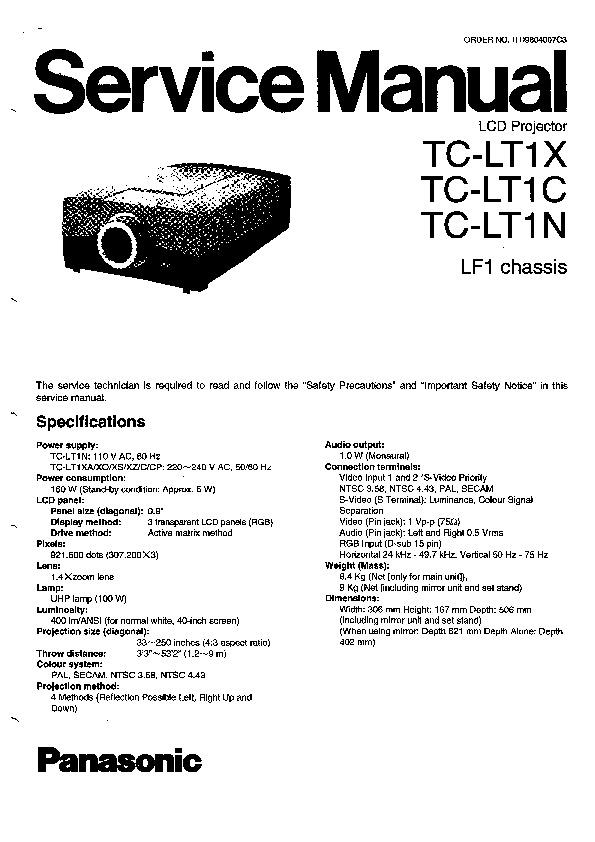 Panasonic TC-LT1X, TC-LT1C, TC-LT1N Service Manual — View