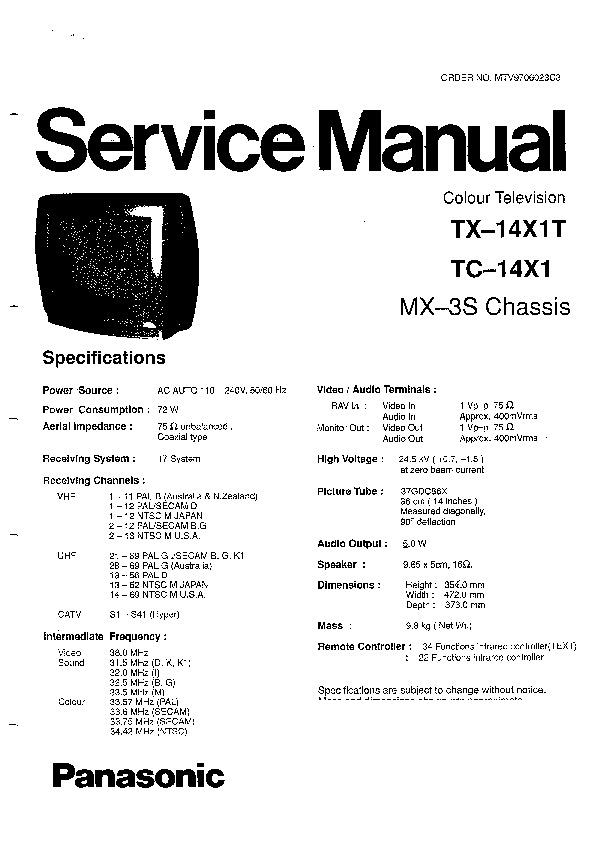Panasonic TX-14X1T Service Manual — View online or