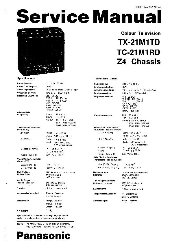 Panasonic TX-21M1TD, TC-21M1RD Service Manual — View