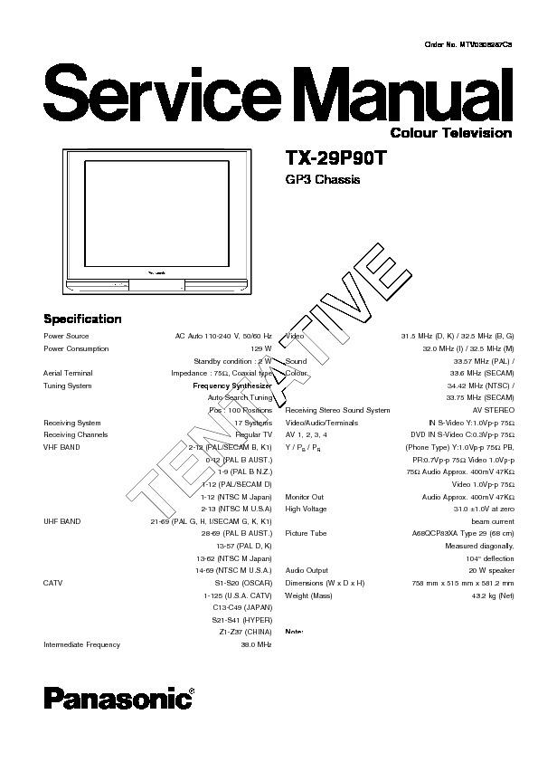Panasonic TX-29P90T Service Manual — View online or