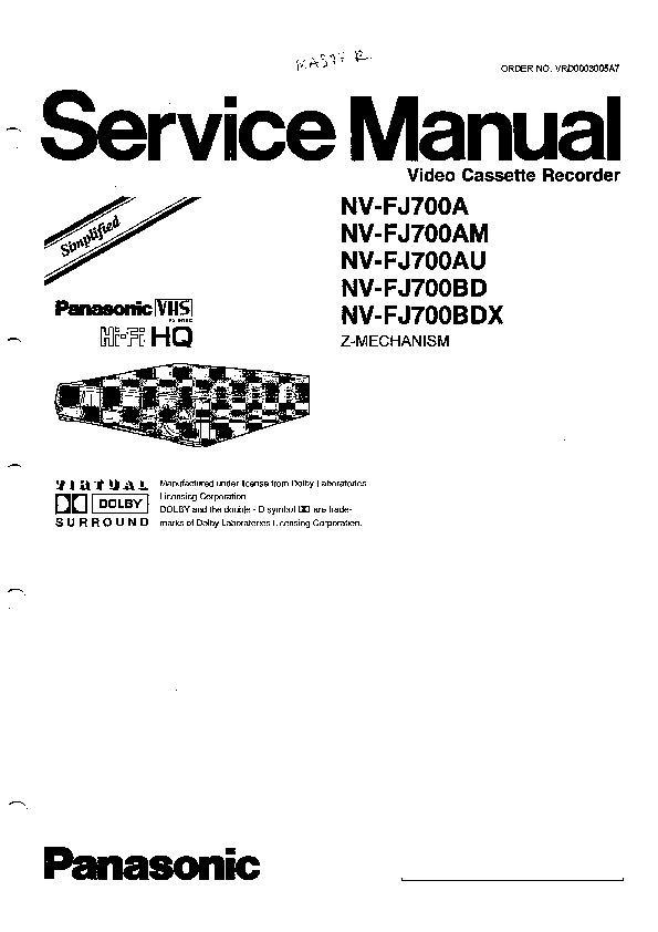 Panasonic NV-FJ700A, NV-FJ700AM, NV-FJ700AU, NV-FJ700BD