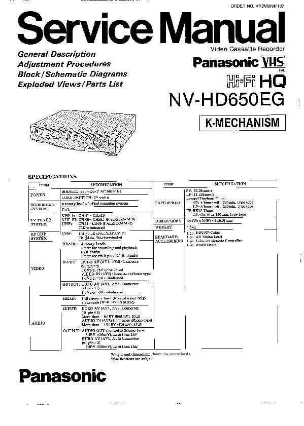 Panasonic NV-HD650EG Service Manual — View online or