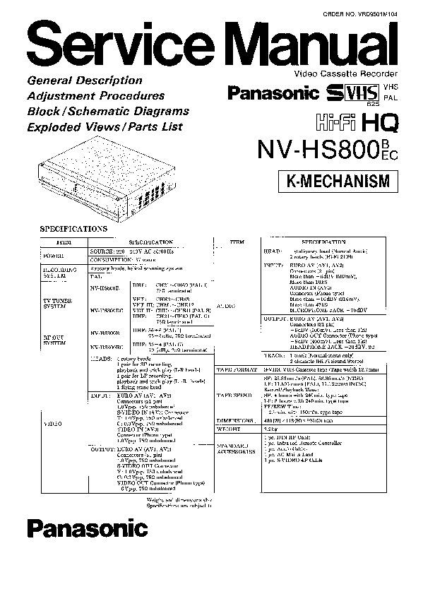 Panasonic NV-HS1000, NV-HS800 Service Manual Simplified
