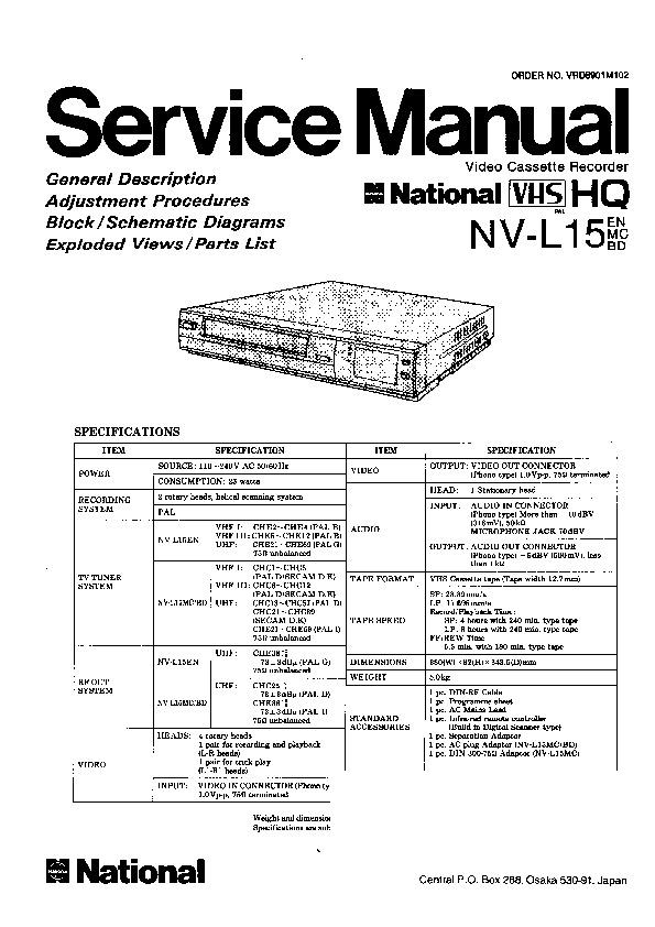 Panasonic NV-L15EN, NV-L15MC, NV-L15BD Service Manual