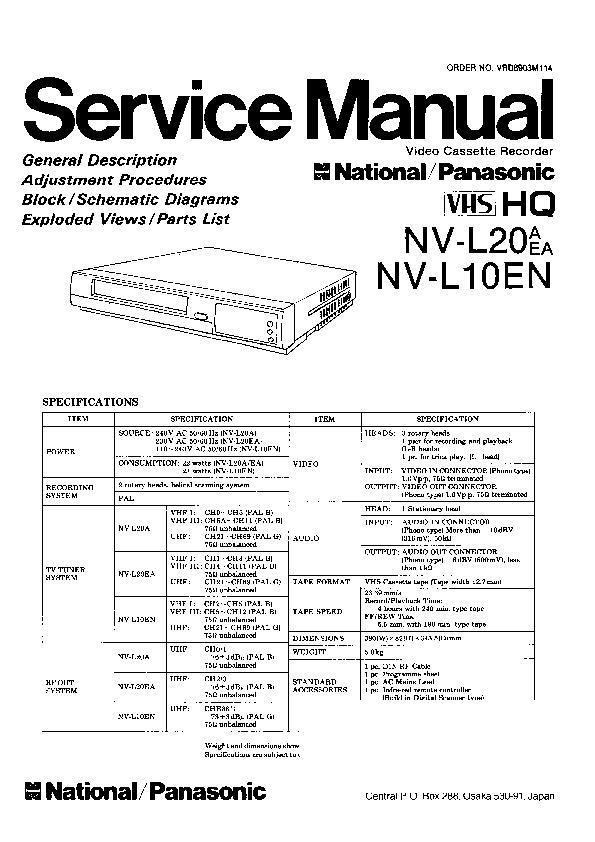 Panasonic NV-L20A, NV-L20EA, NV-L10EN Service Manual