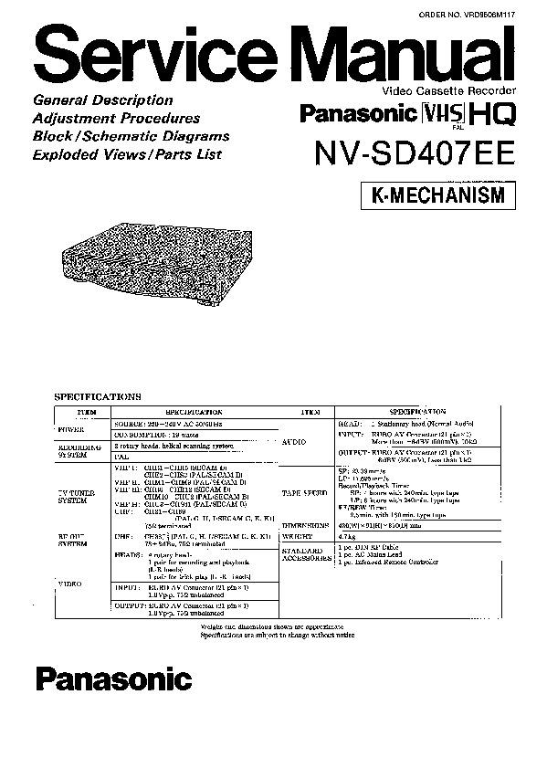 Panasonic NV-SD407EE Service Manual — View online or