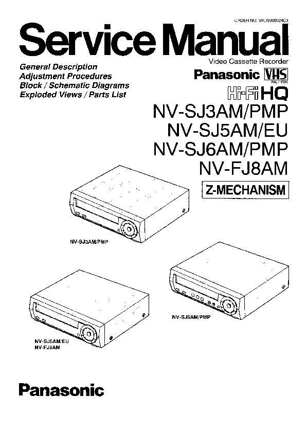 Panasonic NV-SJ3AM, NV-SJ3PMP, NV-SJ5AM, NV-SJ5EU, NV