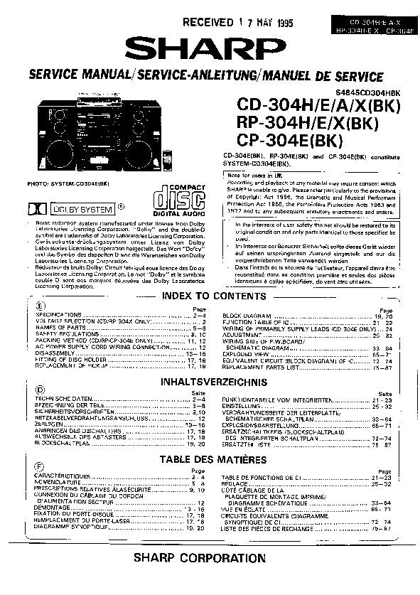 Sharp Audio Service Manuals and Schematics — repair