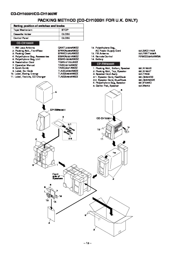 Sharp CD-CH1000 (SERV.MAN15) Service Manual — View online