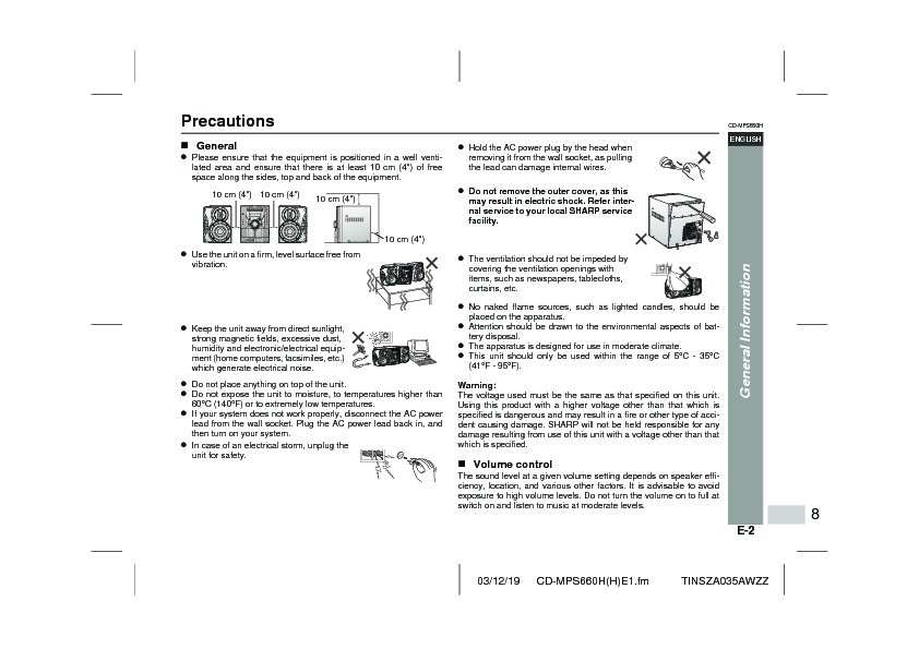 Sharp CD-MPS660H (SERV.MAN2) User Guide / Operation Manual