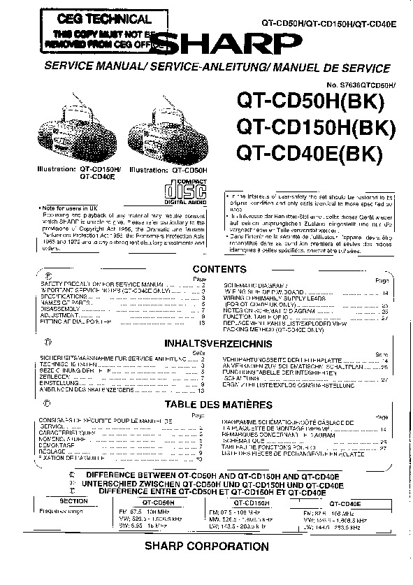 Sharp QT-CD5 (SERV.MAN2) Service Manual — View online or