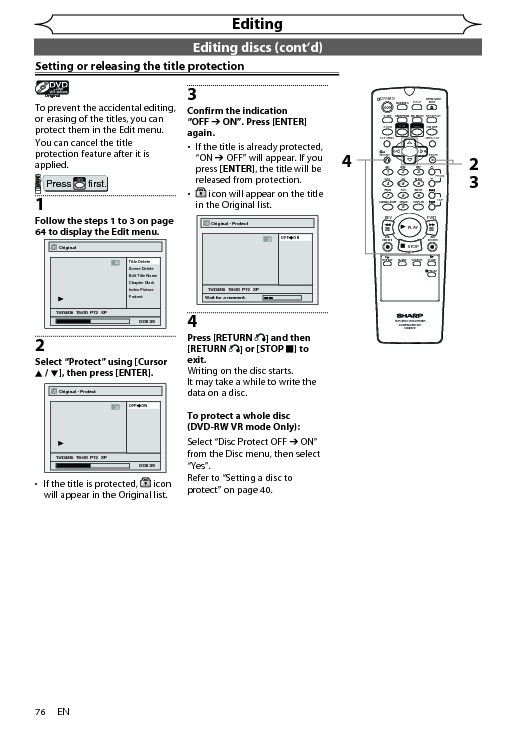 Sharp DV-RW360H (SERV.MAN7) User Guide / Operation Manual